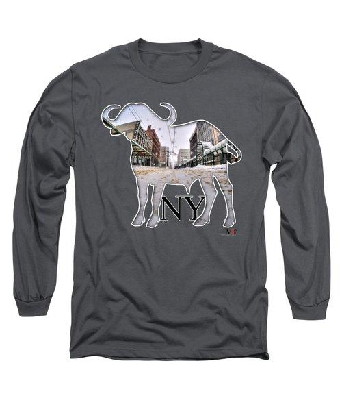 Buffalo Ny Snowy Main St Long Sleeve T-Shirt by Michael Frank Jr