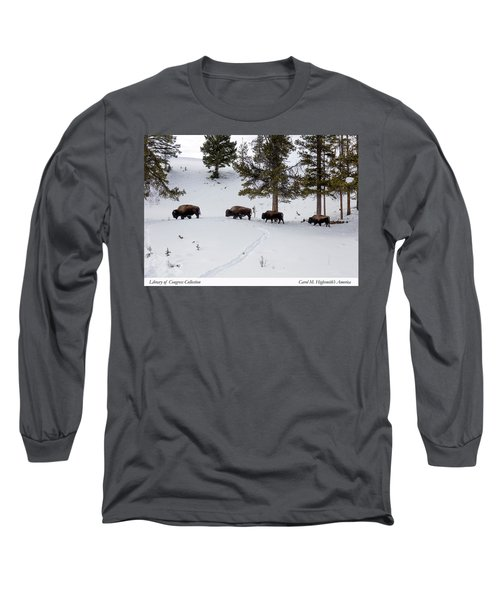 Long Sleeve T-Shirt featuring the photograph Buffaloes In Yellowstone National Park by Carol M Highsmith