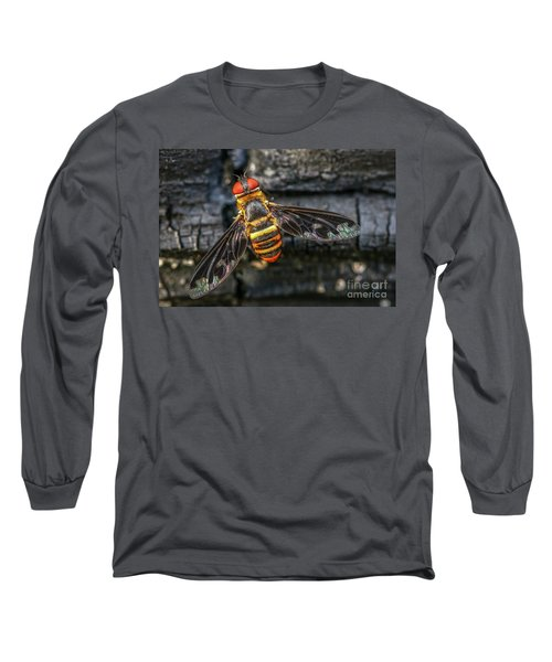 Bug With Red Eyes Long Sleeve T-Shirt by Tom Claud