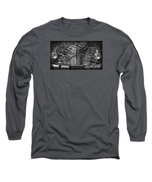 Buick Eight Front End Bw Long Sleeve T-Shirt by Walt Foegelle