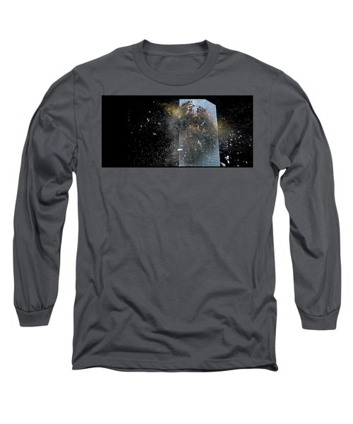 Long Sleeve T-Shirt featuring the digital art Building_explosion by Marcia Kelly