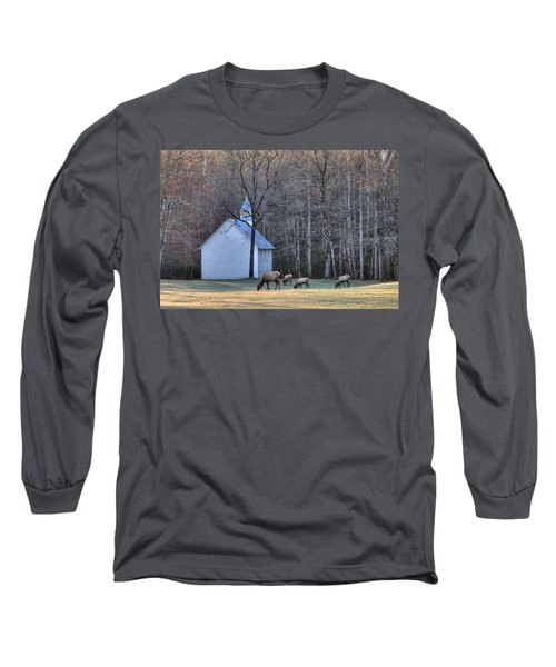 Bull Elk Attending Palmer Chapel  In The Great Smoky Mountains National Park Long Sleeve T-Shirt