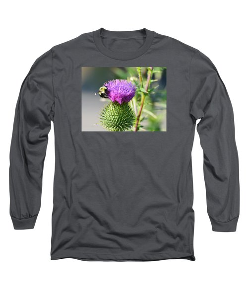 Long Sleeve T-Shirt featuring the photograph Bumble Bee And Purple Thistle  by Lyle Crump