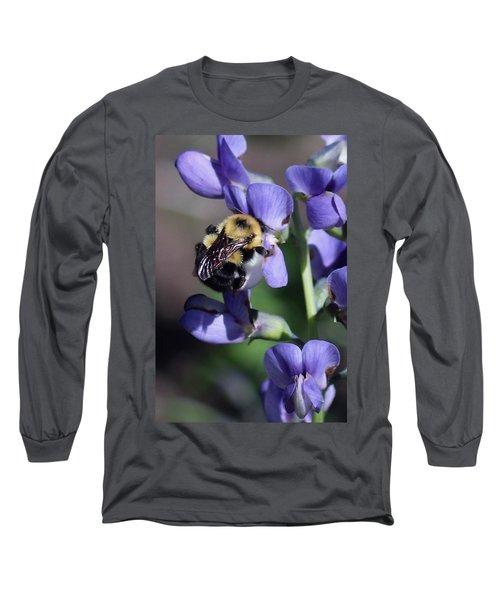 Bumble Bee, Blue Indigo Long Sleeve T-Shirt