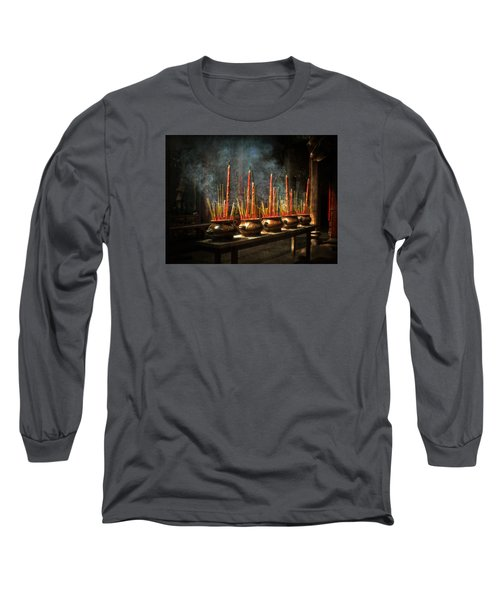 Long Sleeve T-Shirt featuring the photograph Burning Incense by Lucinda Walter