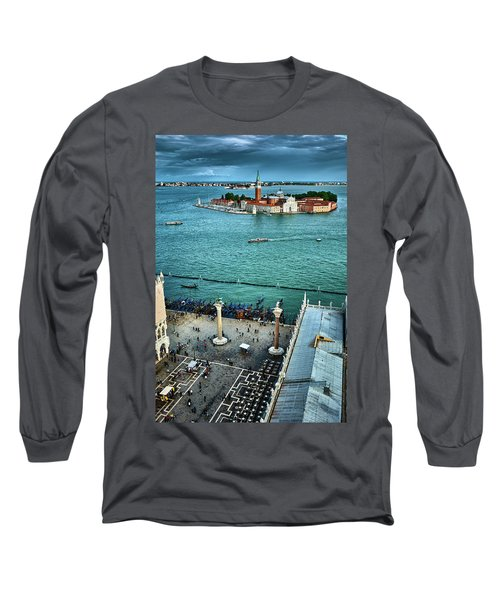 Piazza San Marco And San Giorgio Di Maggiore From The Bell Tower In Venice, Italy Long Sleeve T-Shirt