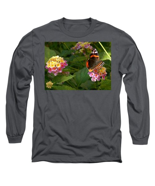 Busy Butterfly Side 1 Long Sleeve T-Shirt by Felipe Adan Lerma