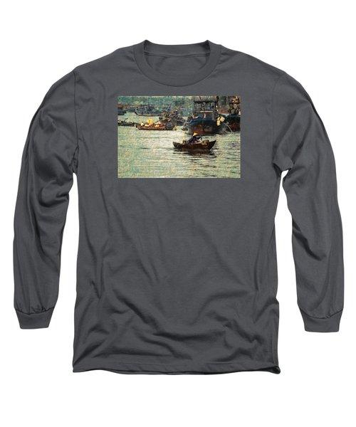 Long Sleeve T-Shirt featuring the digital art Busy Hoi Ahn Dawn by Cameron Wood