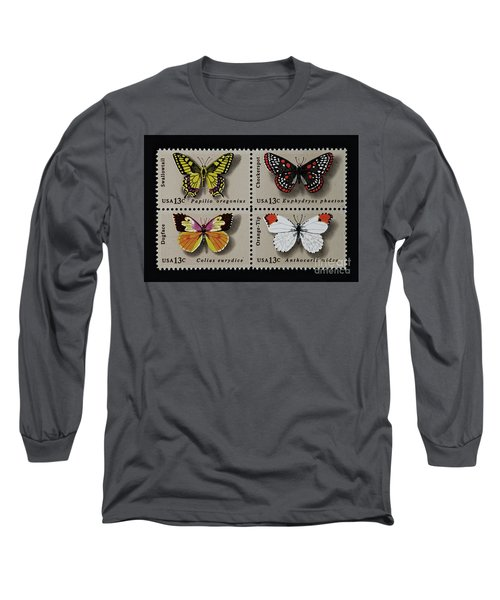 Butterflies Postage Stamp Print Long Sleeve T-Shirt by Andy Prendy