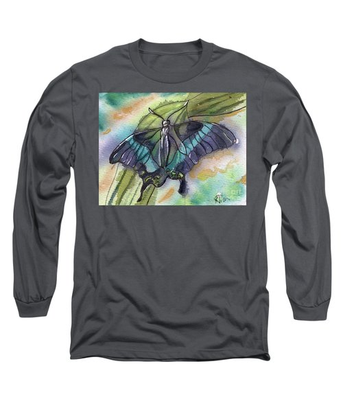 Long Sleeve T-Shirt featuring the painting Butterfly Bamboo Black Swallowtail by D Renee Wilson