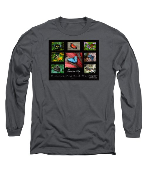 Long Sleeve T-Shirt featuring the photograph Butterfly Generosity Collage by Diane E Berry