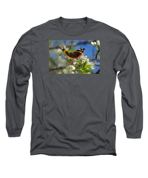 Butterfly On Blossoms Long Sleeve T-Shirt by Steven Clipperton