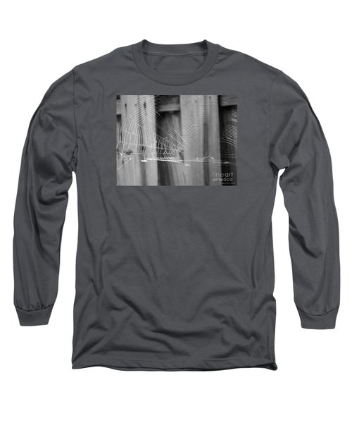 Long Sleeve T-Shirt featuring the photograph Bw Spiderweb by Megan Dirsa-DuBois