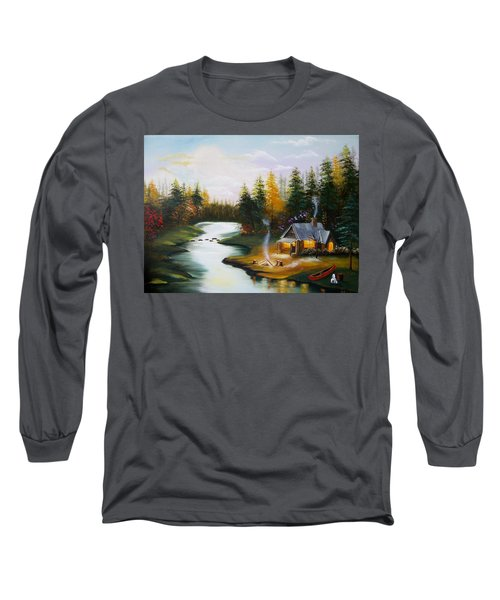 Cabin By The River Long Sleeve T-Shirt