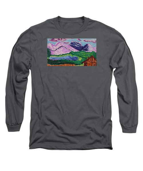 Long Sleeve T-Shirt featuring the painting Cabin In The Mountains by Don Koester