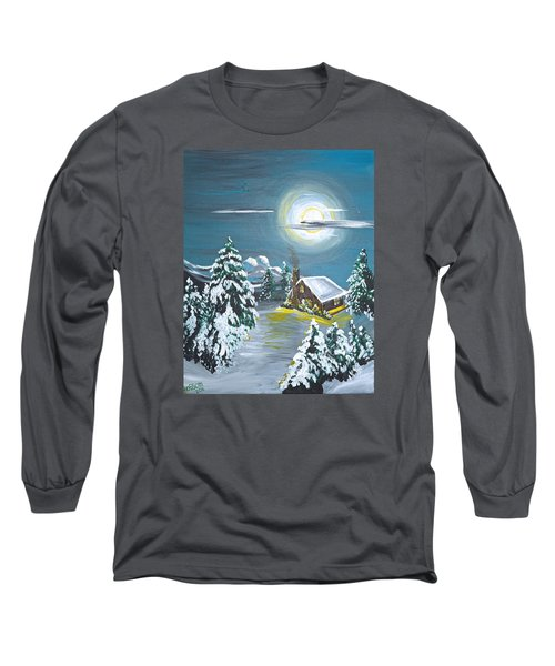 Long Sleeve T-Shirt featuring the painting Cabin In The Woods by Donna Blossom