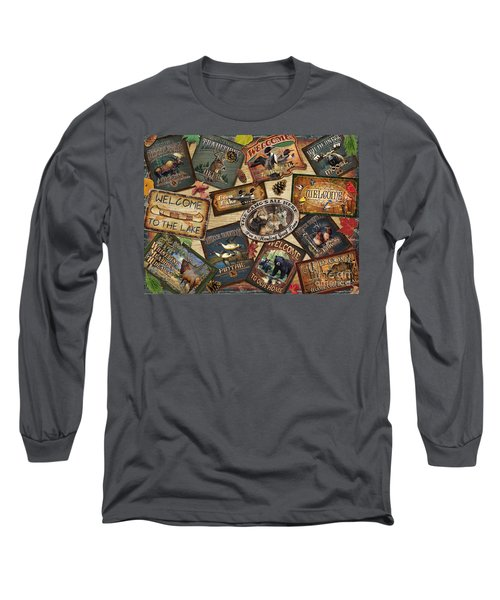 Cabin Sign Collage Long Sleeve T-Shirt by Cynthie Fisher JQ Licensing