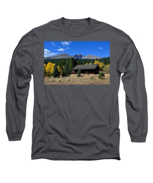 Cabin With A View Of Long's Peak Long Sleeve T-Shirt