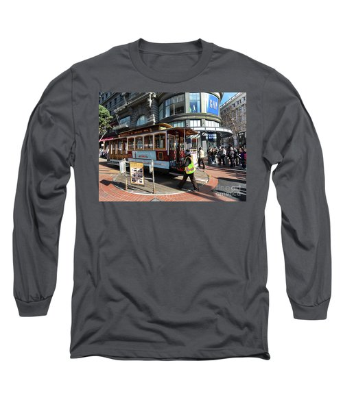 Long Sleeve T-Shirt featuring the photograph Cable Car Union Square Stop by Steven Spak