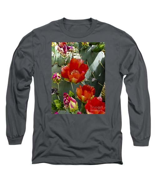 Cactus Blossom Long Sleeve T-Shirt by Kathy McClure