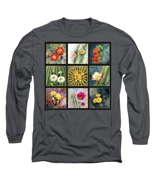 Long Sleeve T-Shirt featuring the painting Cactus Series by Marilyn Smith
