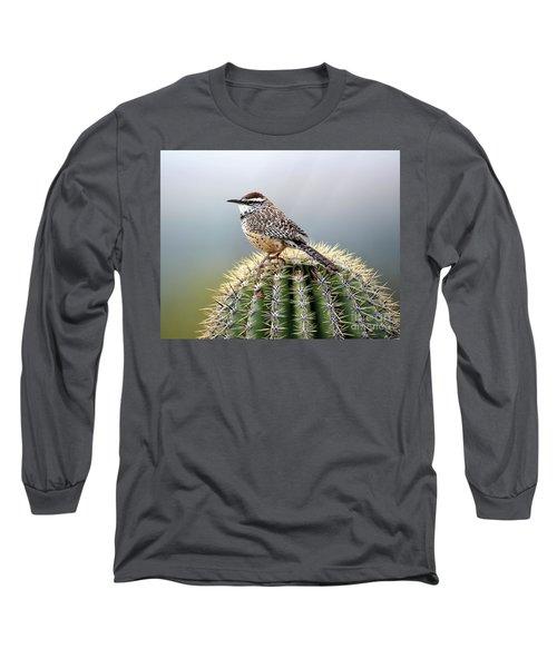 Cactus Wren On Saguaro Long Sleeve T-Shirt
