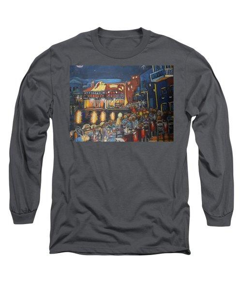 Cafe Scene At Night Long Sleeve T-Shirt