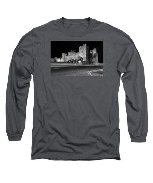 Cahir Castle At Night Long Sleeve T-Shirt by Martina Fagan