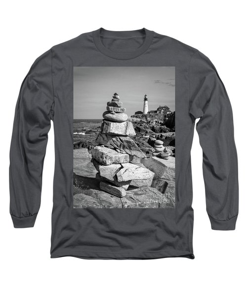 Cairn And Lighthouse  -56052-bw Long Sleeve T-Shirt by John Bald