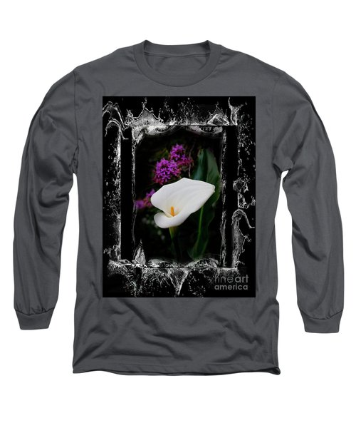 Long Sleeve T-Shirt featuring the photograph Calla Lily Splash by Al Bourassa