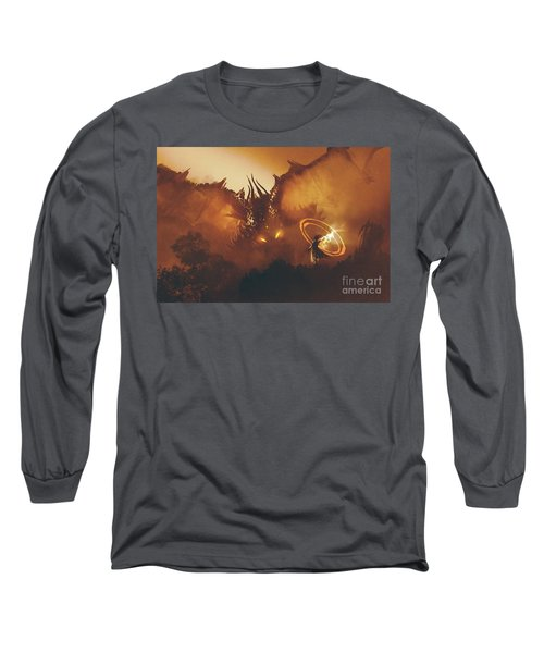 Long Sleeve T-Shirt featuring the painting Calling Of The Dragon by Tithi Luadthong