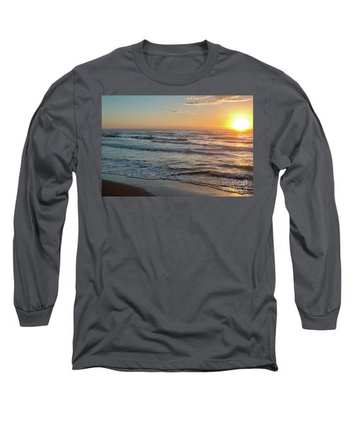Calm Water Over Wet Sand During Sunrise Long Sleeve T-Shirt
