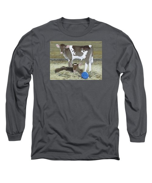 Calves Playing With A Blue Ball Long Sleeve T-Shirt