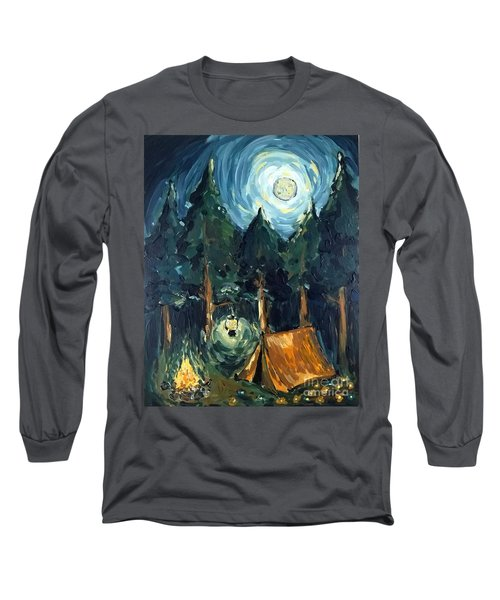 Long Sleeve T-Shirt featuring the painting Camp At Night by Maria Langgle