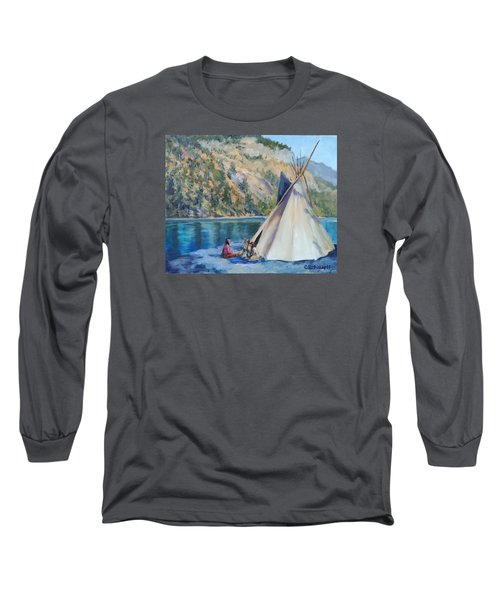 Camp By The Lake Long Sleeve T-Shirt by Connie Schaertl