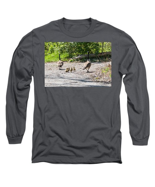 Canada Geese Family Walk Long Sleeve T-Shirt by Edward Peterson