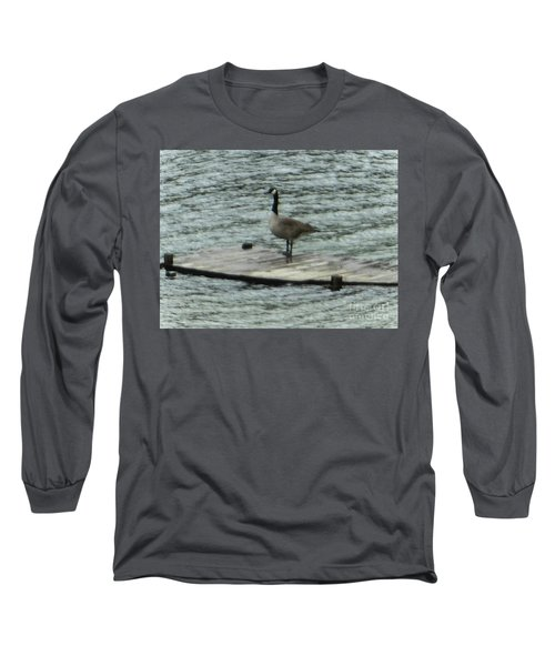 Long Sleeve T-Shirt featuring the photograph Canada Goose Lake Dock by Rockin Docks Deluxephotos