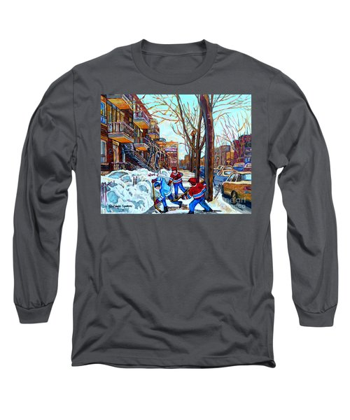 Canadian Art Street Hockey Game Verdun Montreal Memories Winter City Scene Paintings Carole Spandau Long Sleeve T-Shirt