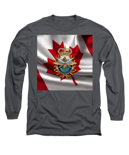 Canadian Forces Emblem Over Flag Long Sleeve T-Shirt
