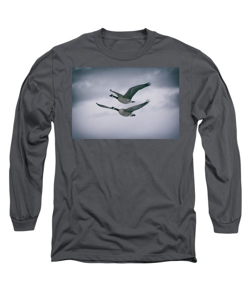 Canadian Geese In Flight Long Sleeve T-Shirt by Jason Coward