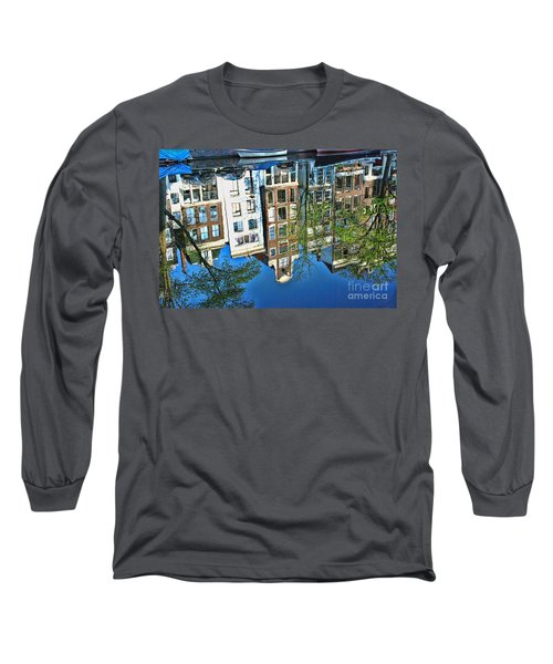 Long Sleeve T-Shirt featuring the photograph Amsterdam Canal Reflection  by Allen Beatty