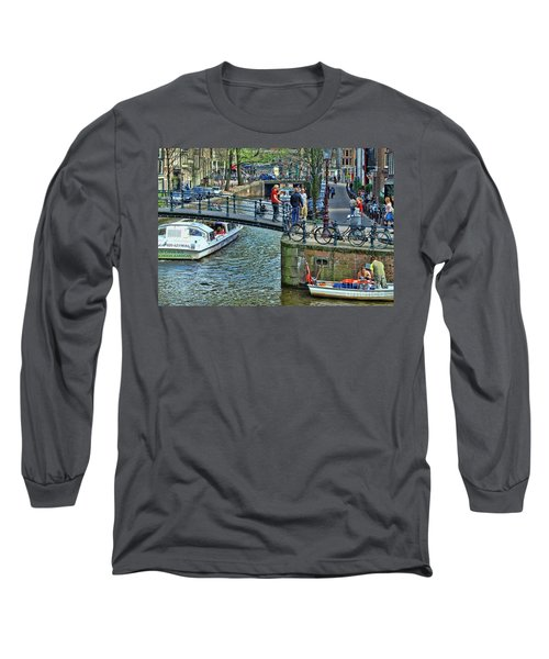 Long Sleeve T-Shirt featuring the photograph Amsterdam Canal Scene 1 by Allen Beatty