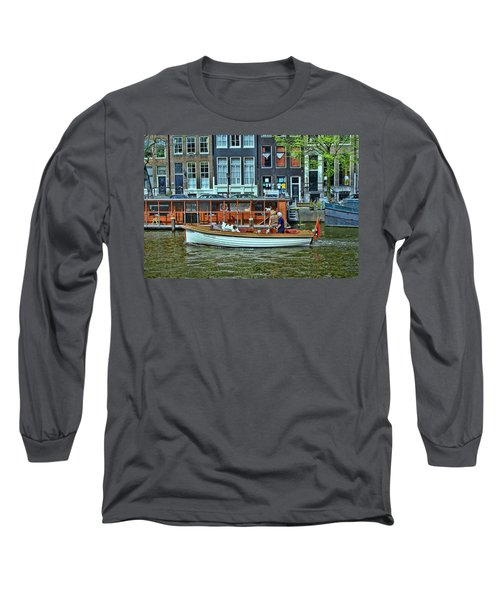 Long Sleeve T-Shirt featuring the photograph Amsterdam Canal Scene 10 by Allen Beatty