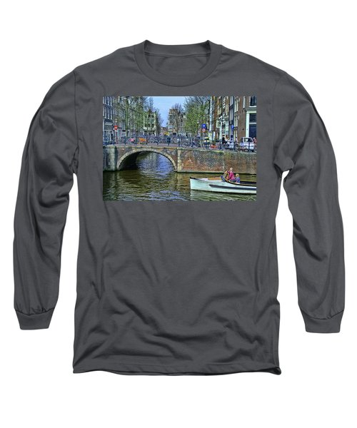 Long Sleeve T-Shirt featuring the photograph Amsterdam Canal Scene 3 by Allen Beatty