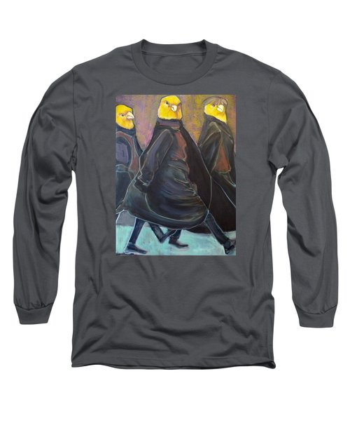 Long Sleeve T-Shirt featuring the painting Canaries On Parade by Irena Mohr