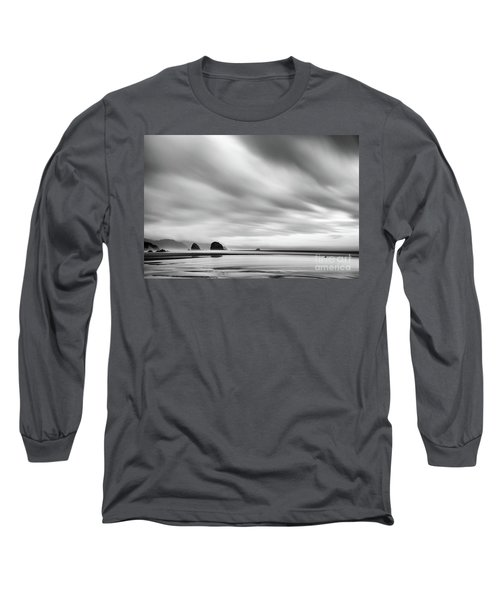 Cannon Beach Long Exposure Sunrise In Black And White Long Sleeve T-Shirt