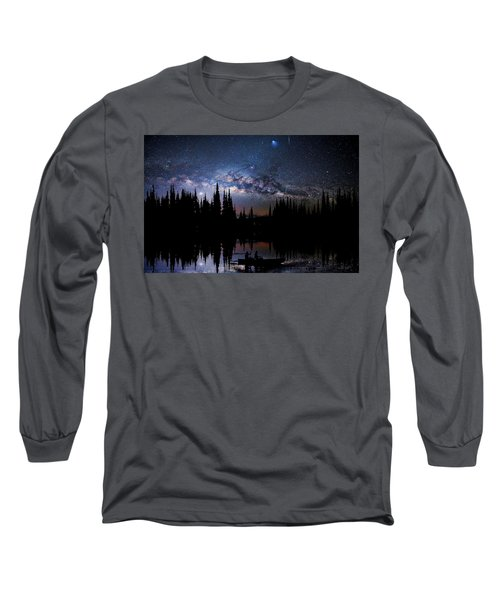 Canoeing - Milky Way - Night Scene Long Sleeve T-Shirt by Andrea Kollo