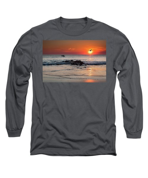 A Canoe At Crackington Haven At Sunset Cornwall Long Sleeve T-Shirt
