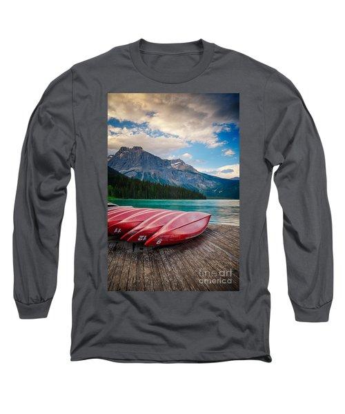 Canoes At Emerald Lake In Yoho National Park Long Sleeve T-Shirt