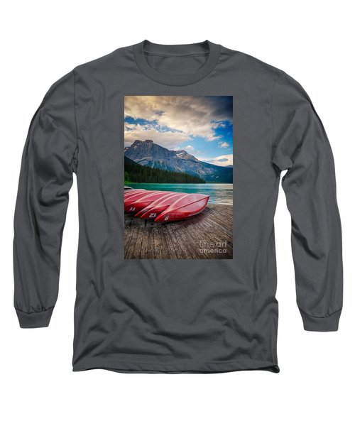 Canoes At Emerald Lake In Yoho National Park Long Sleeve T-Shirt
